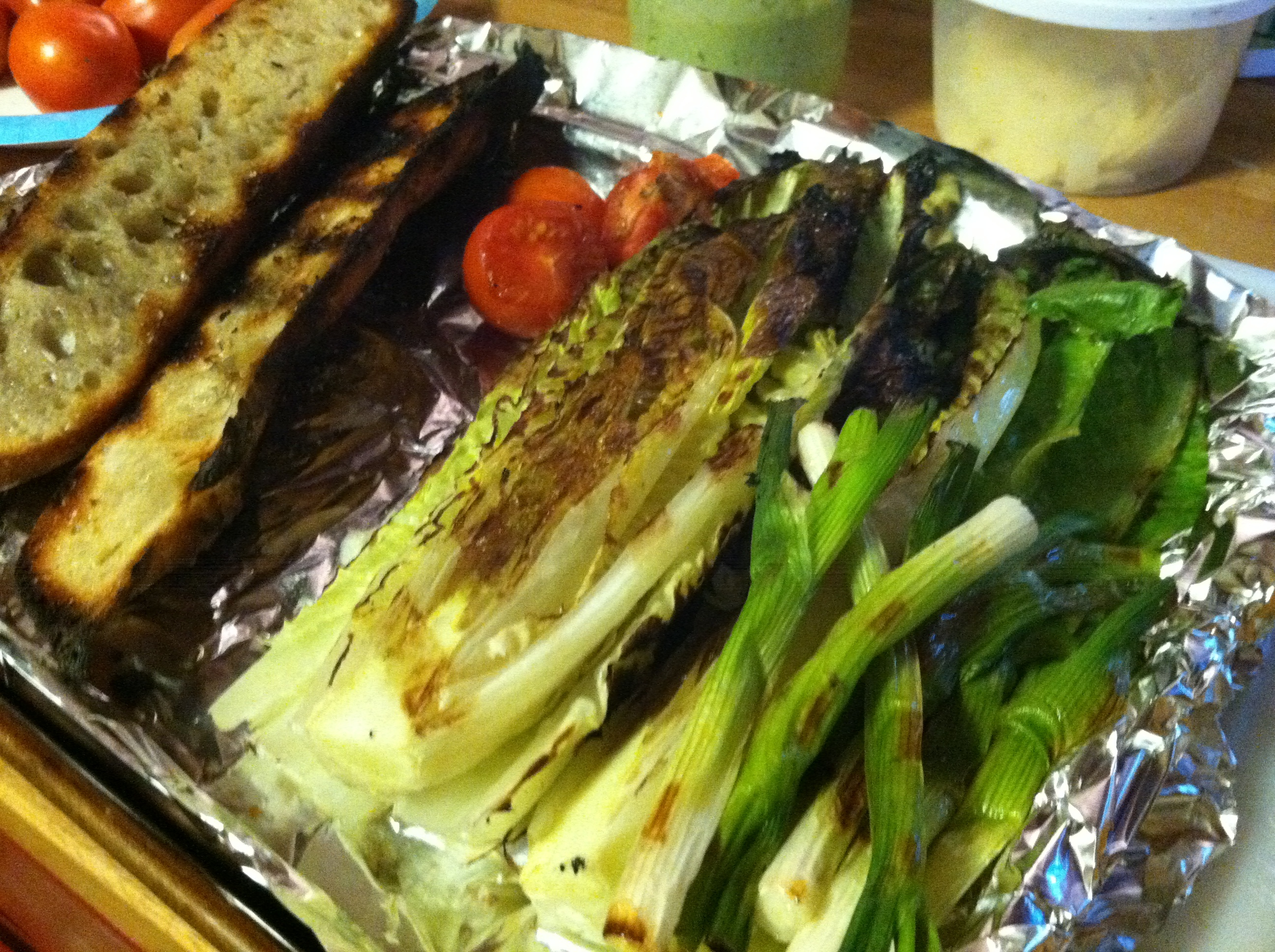 Grilled Romaine Salad with Grilled Buttery Garlic Baguette ...